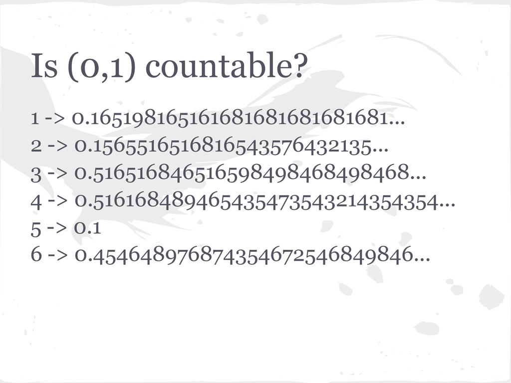 Is (0,1) countable? 1 -> 0.16519816516168168168...