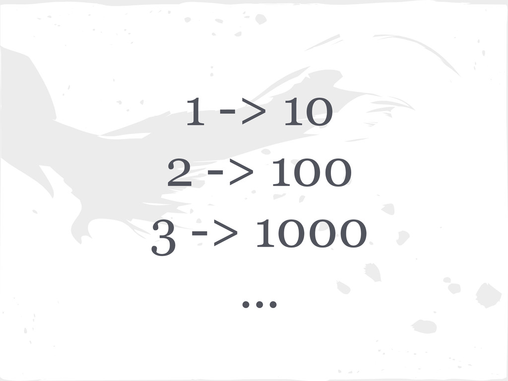 1 -> 10 2 -> 100 3 -> 1000 ...
