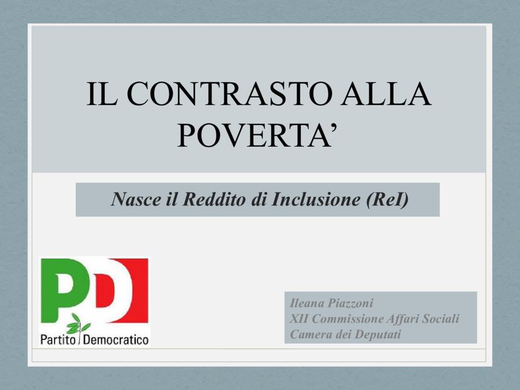 Nasce il Reddito di Inclusione (ReI) Ileana Pia...