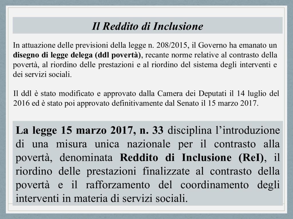 Il Reddito di Inclusione In attuazione delle pr...