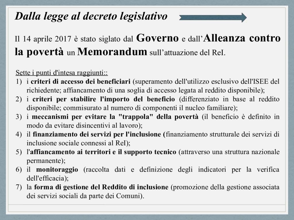 Dalla legge al decreto legislativo Il 14 aprile...