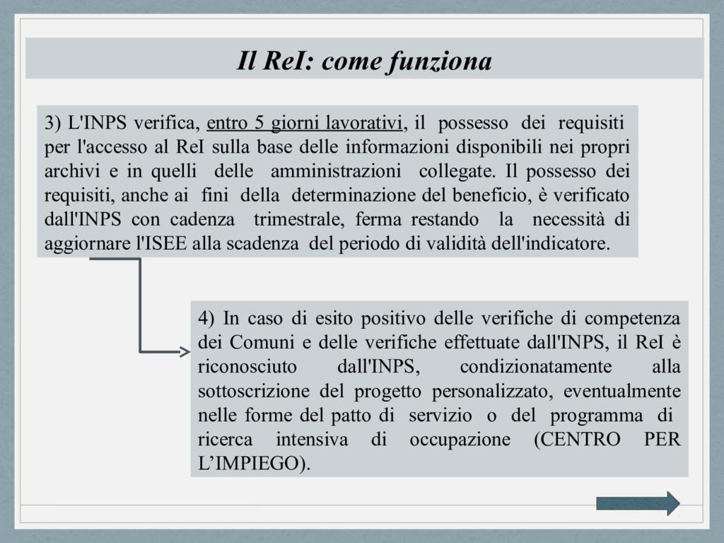 Il ReI: come funziona 3) L'INPS verifica, entro...