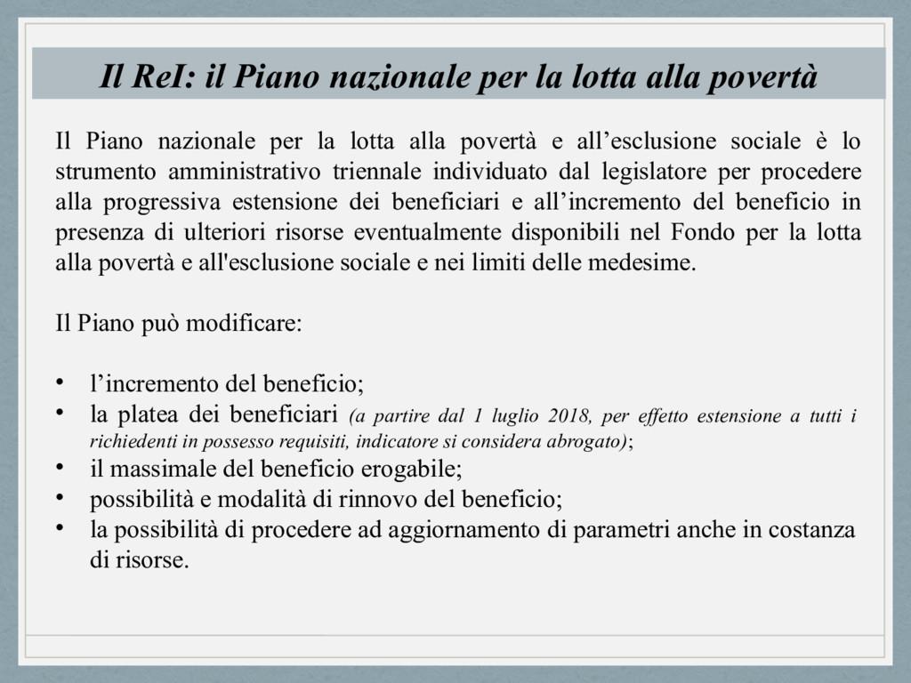 Il ReI: il Piano nazionale per la lotta alla po...