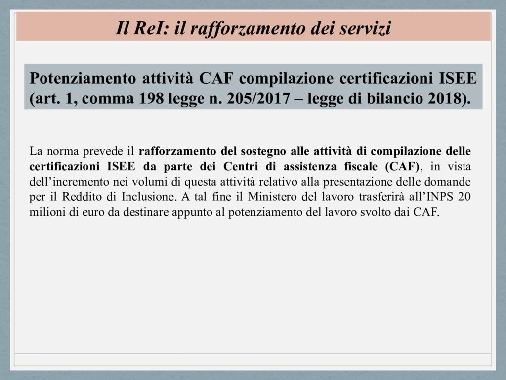 Il ReI: il rafforzamento dei servizi Potenziame...