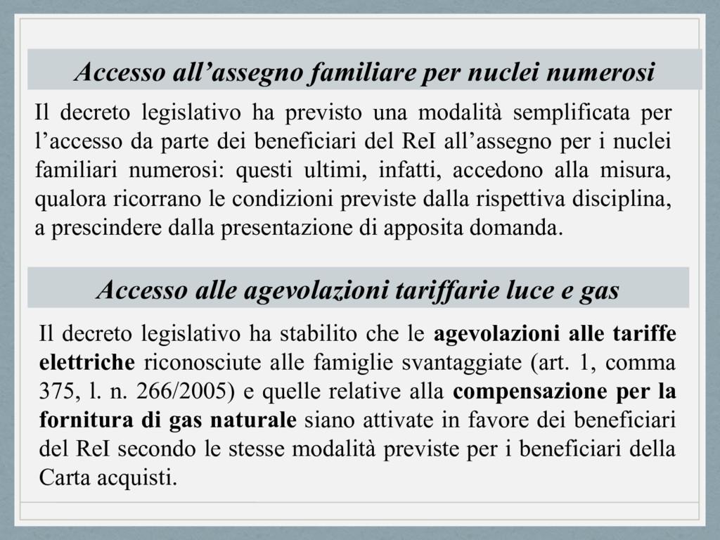 Accesso all'assegno familiare per nuclei numero...
