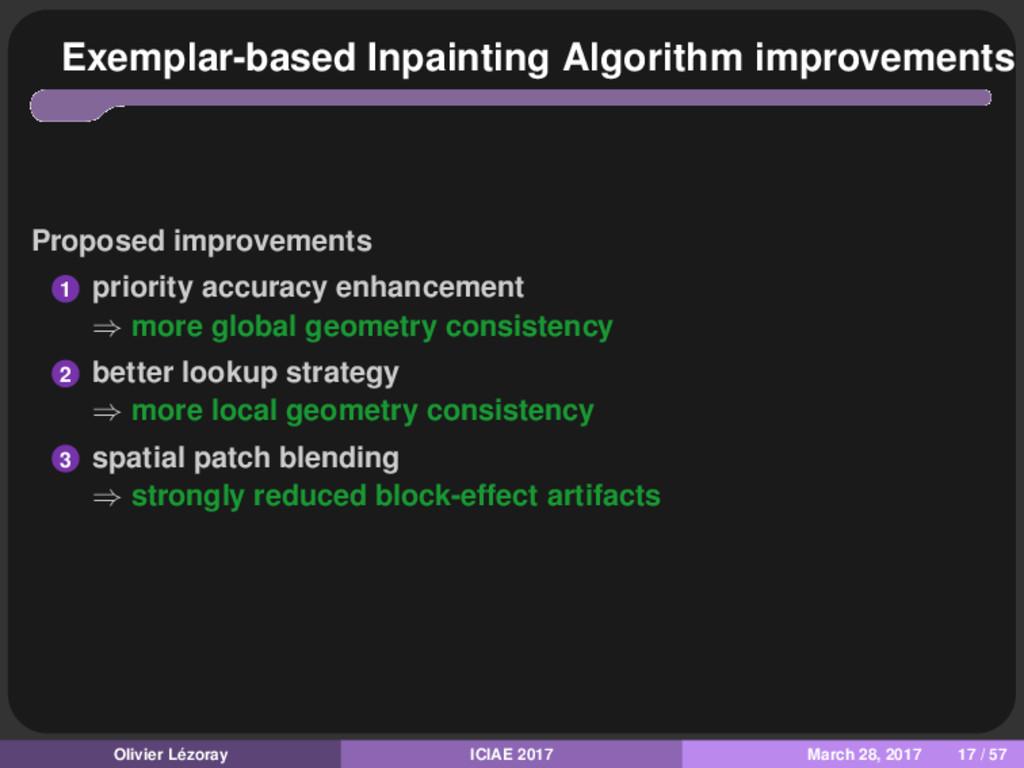 Exemplar-based Inpainting Algorithm improvement...