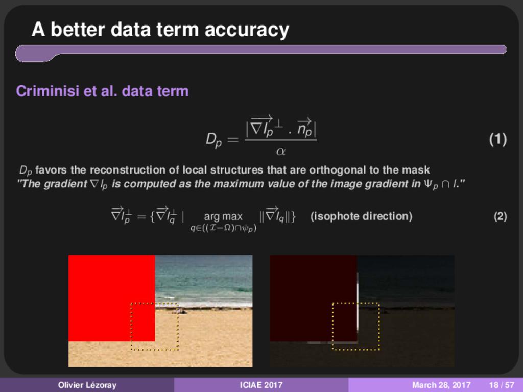 A better data term accuracy Criminisi et al. da...