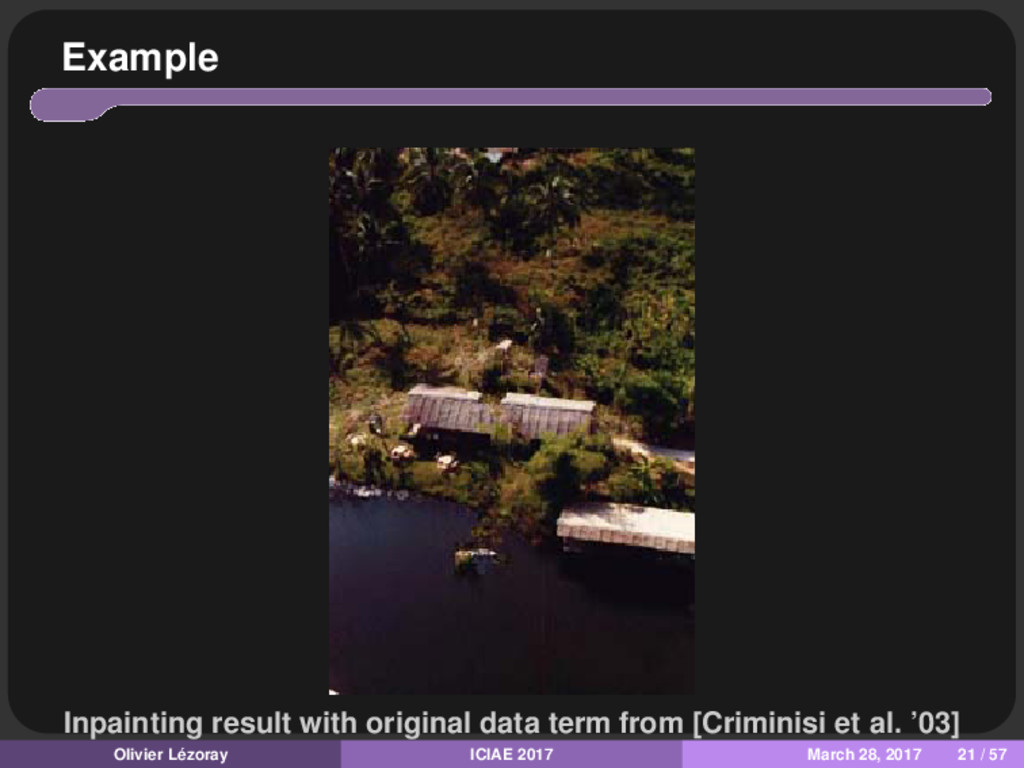 Example Inpainting result with original data te...