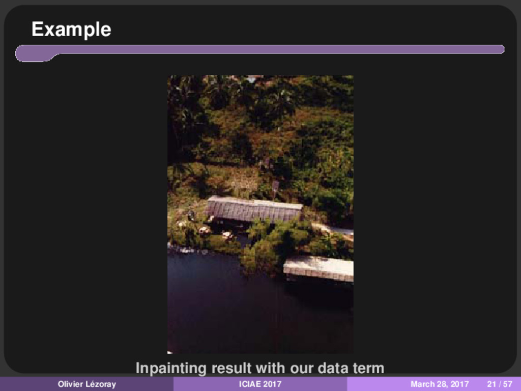 Example Inpainting result with our data term Ol...