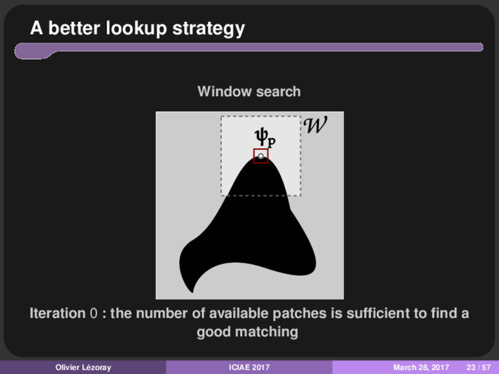 A better lookup strategy Window search Iteratio...