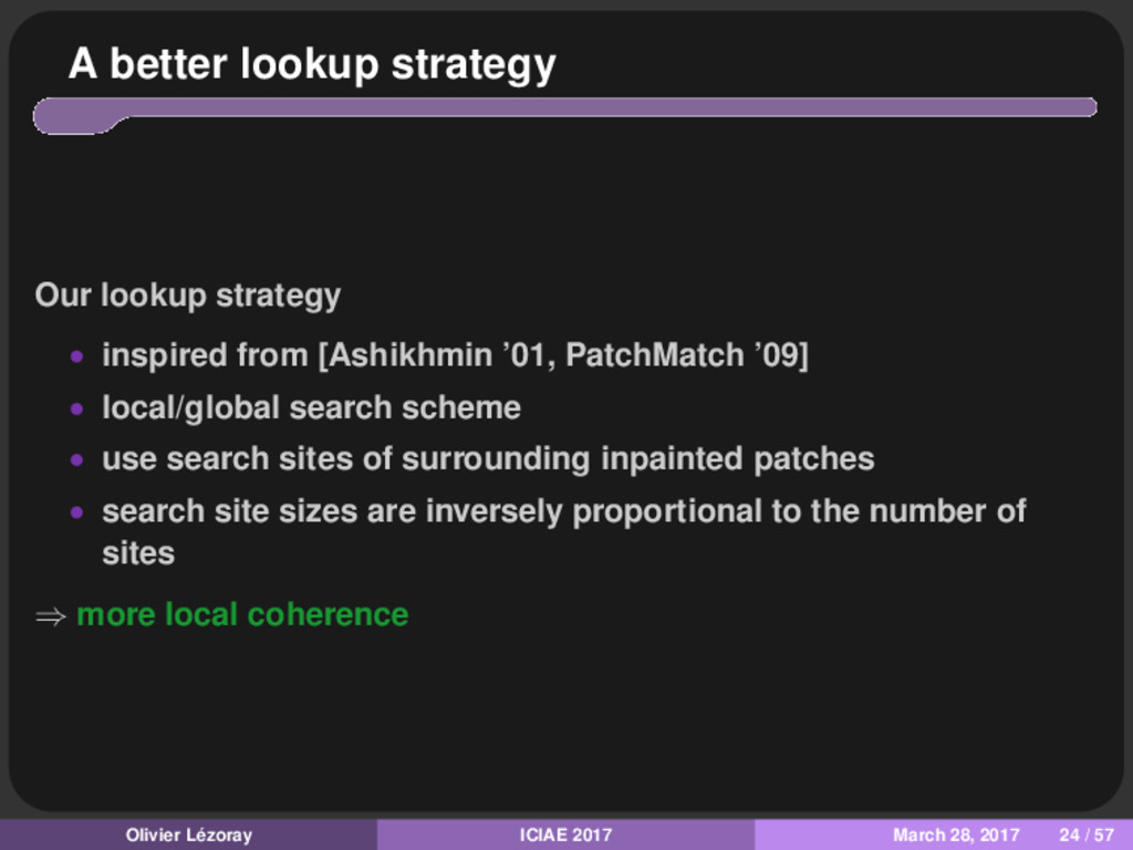 A better lookup strategy Our lookup strategy • ...