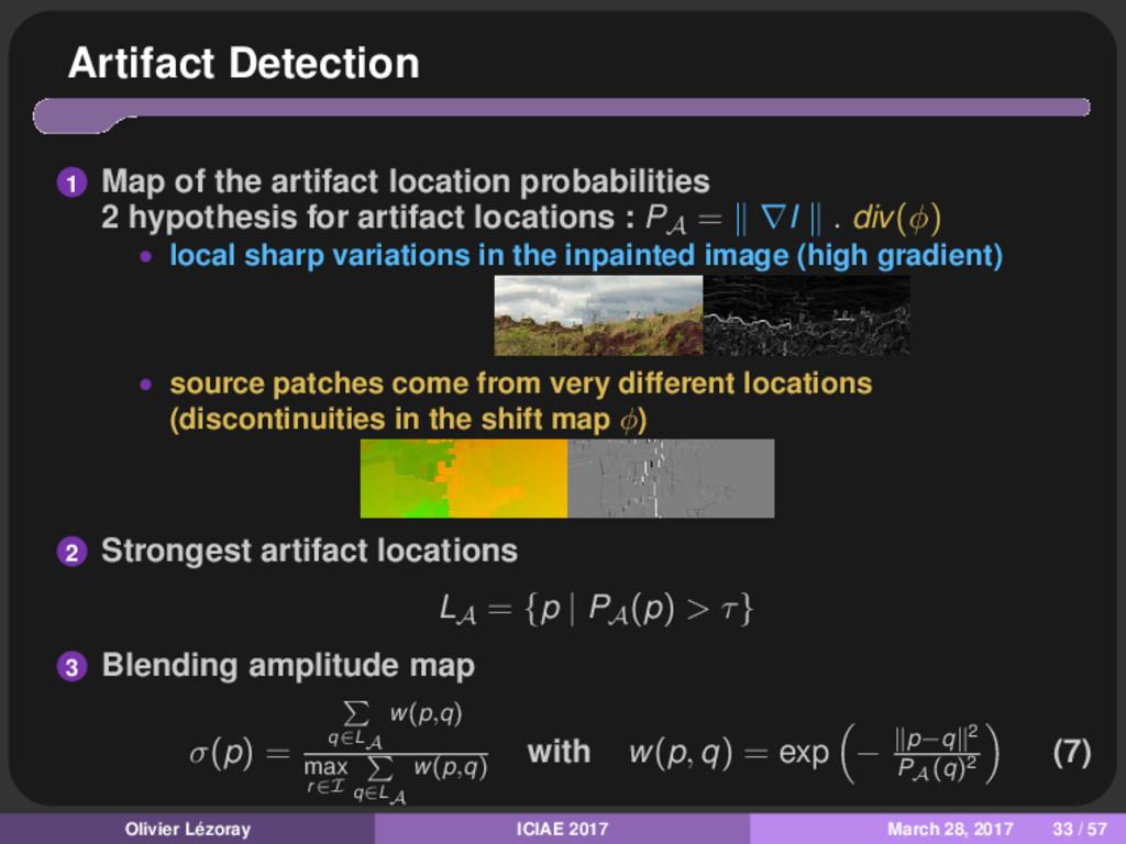 Artifact Detection 1 Map of the artifact locati...