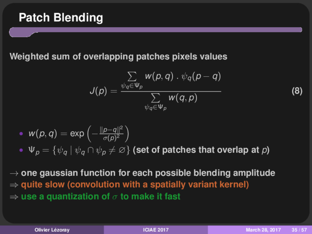 Patch Blending Weighted sum of overlapping patc...