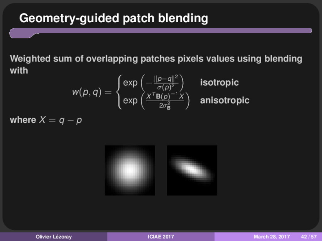 Geometry-guided patch blending Weighted sum of ...