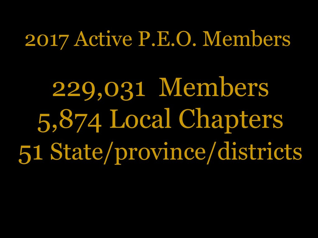 2017 Active P.E.O. Members 229,031 Members 5,87...