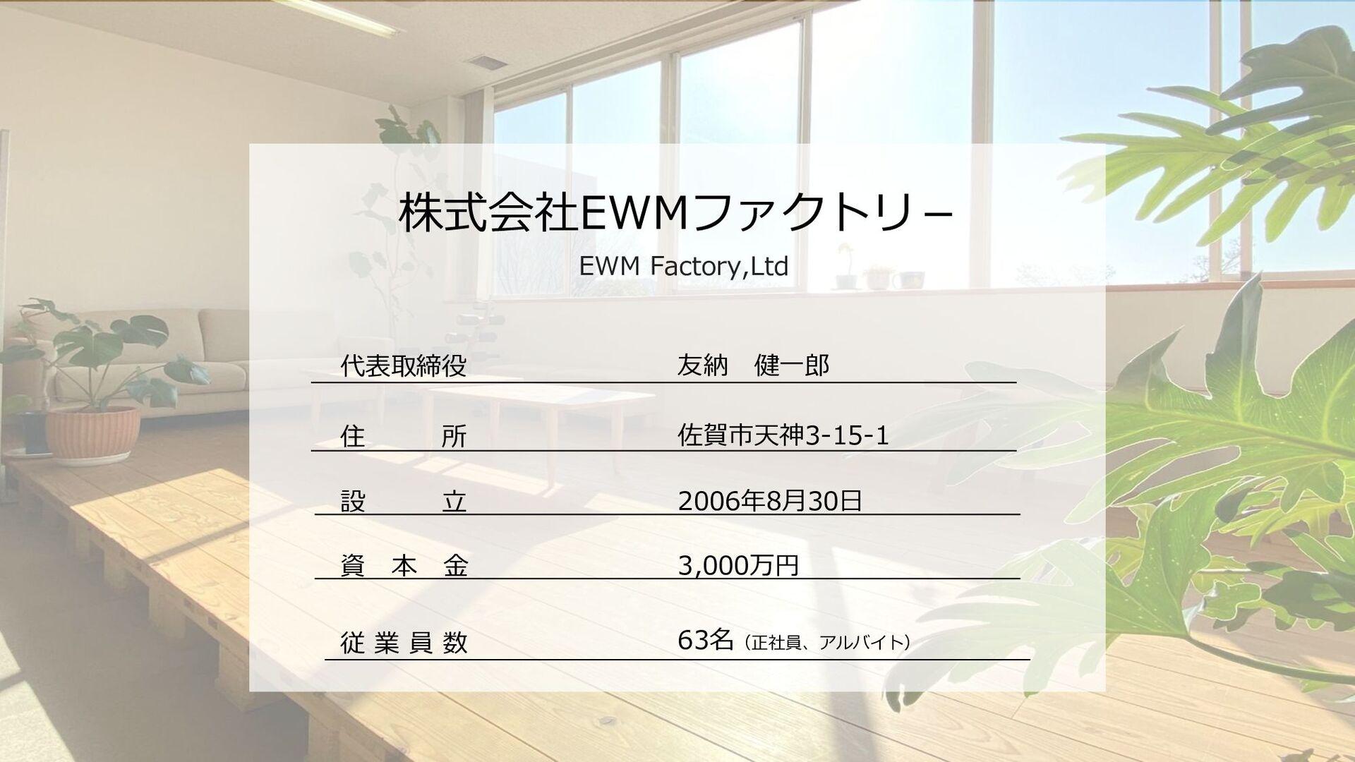 株式会社EWMファクトリ- EWM Factory,Ltd 代表取締役 友納 健一郎 設 立 ...
