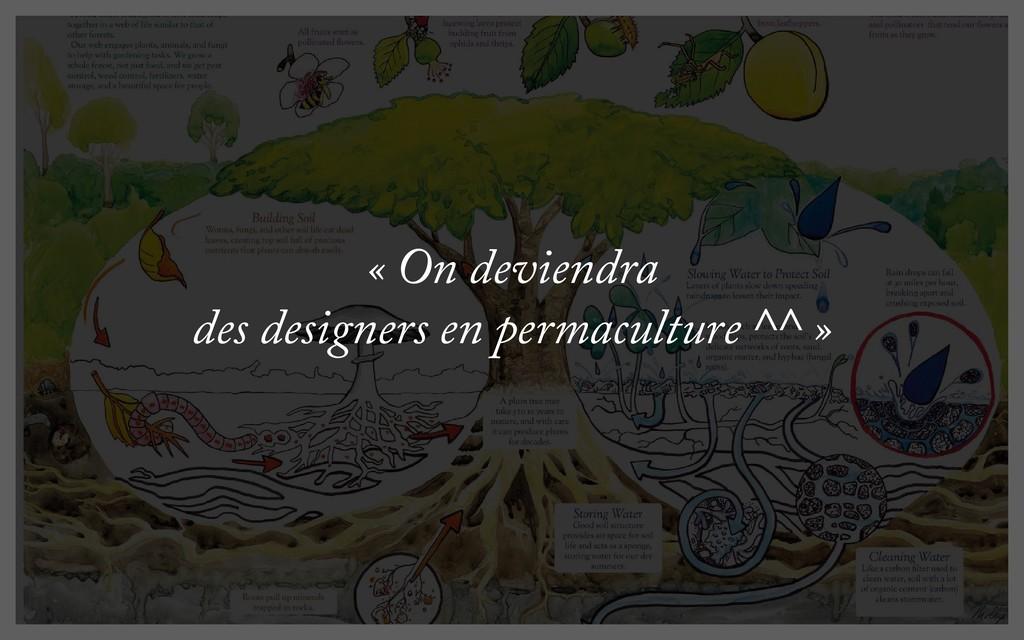 « On deviendra des designers en permaculture ^^...