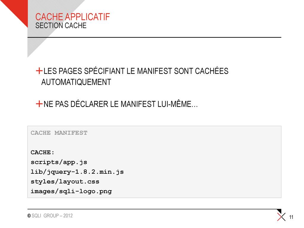 © SQLI GROUP – 2012 CACHE APPLICATIF +LES PAGES...