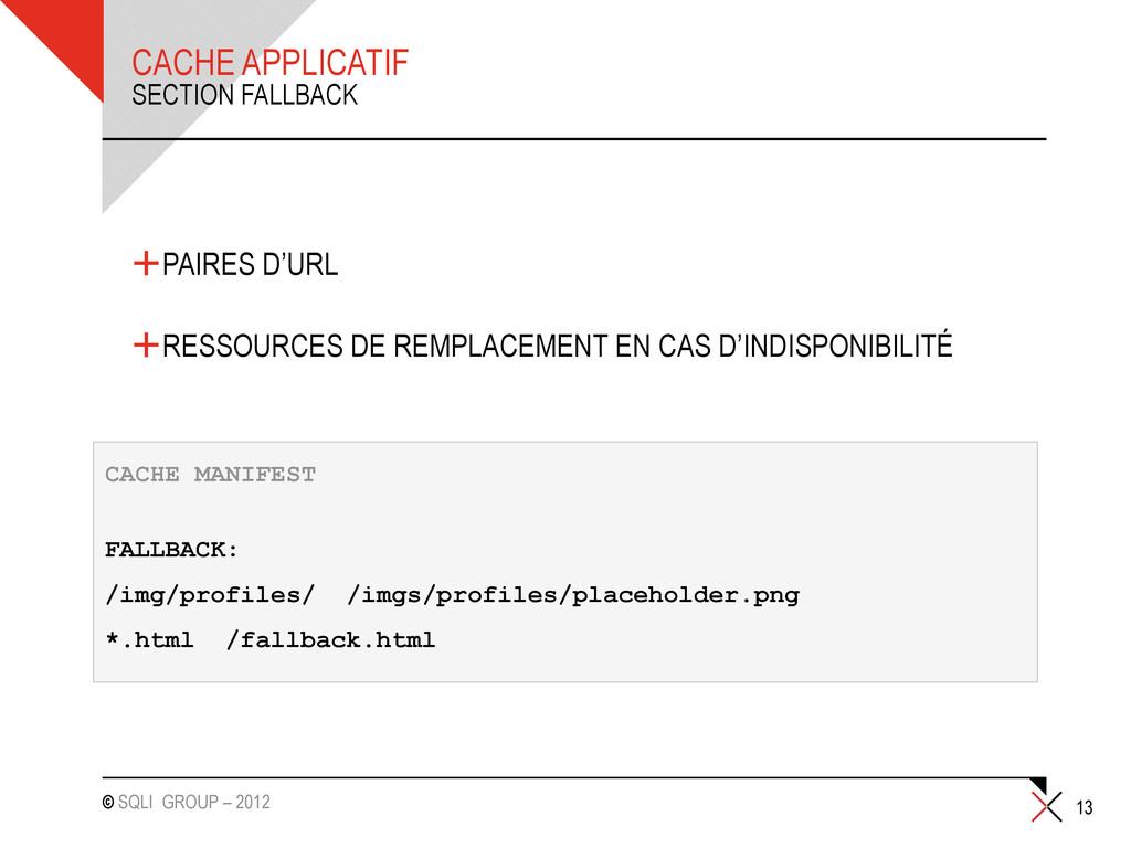 © SQLI GROUP – 2012 CACHE APPLICATIF +PAIRES D'...