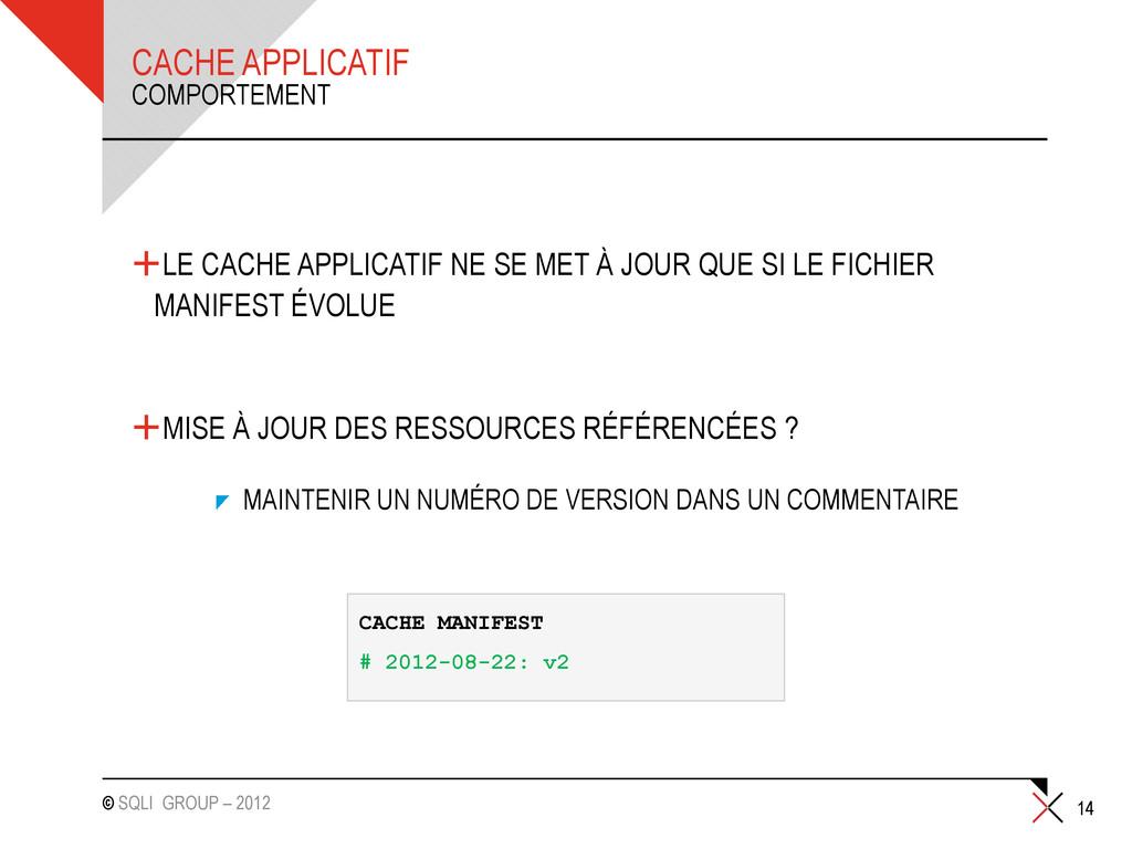 © SQLI GROUP – 2012 CACHE APPLICATIF +LE CACHE ...