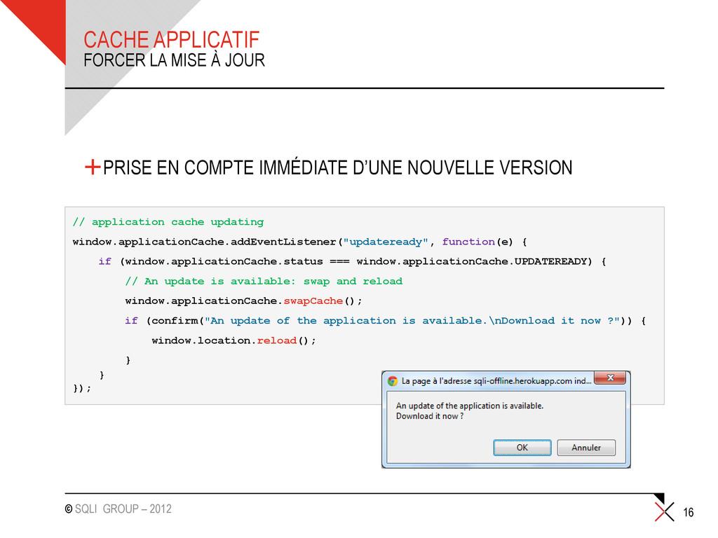 © SQLI GROUP – 2012 +PRISE EN COMPTE IMMÉDIATE ...