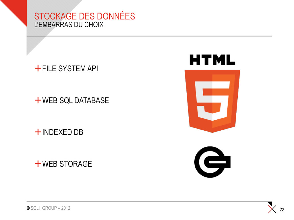 © SQLI GROUP – 2012 STOCKAGE DES DONNÉES +FILE ...