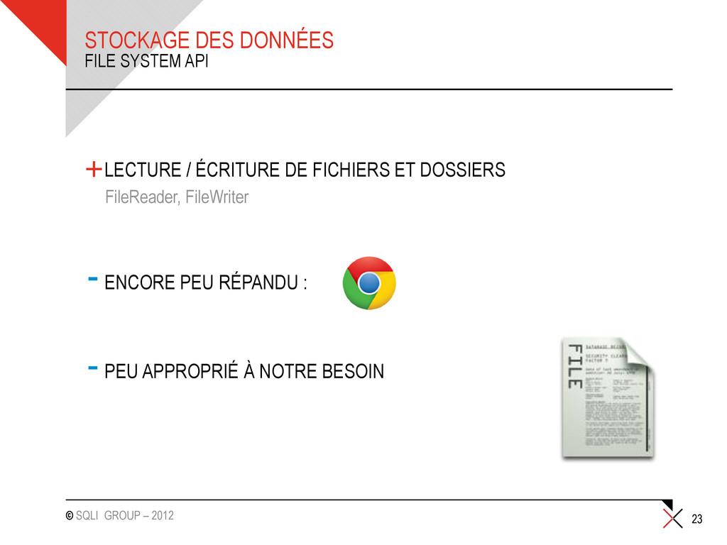 © SQLI GROUP – 2012 STOCKAGE DES DONNÉES +LECTU...