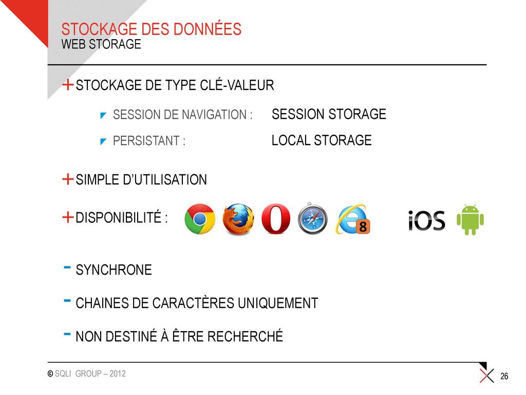 © SQLI GROUP – 2012 STOCKAGE DES DONNÉES +STOCK...