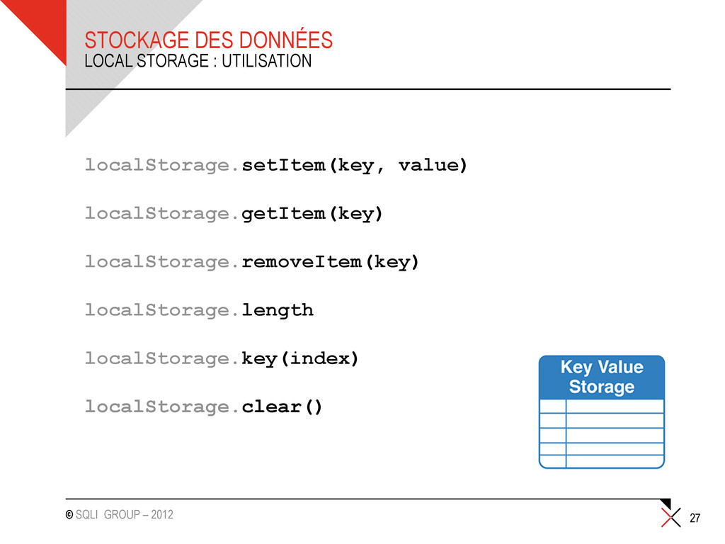 © SQLI GROUP – 2012 STOCKAGE DES DONNÉES localS...