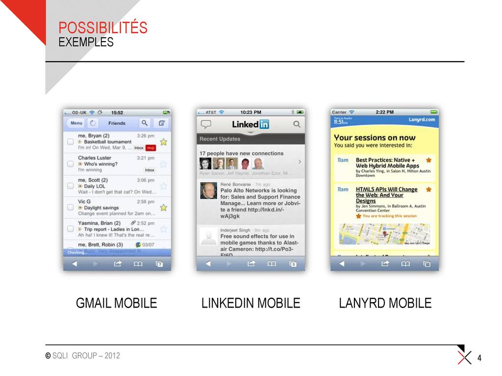 © SQLI GROUP – 2012 4 EXEMPLES POSSIBILITÉS GMA...