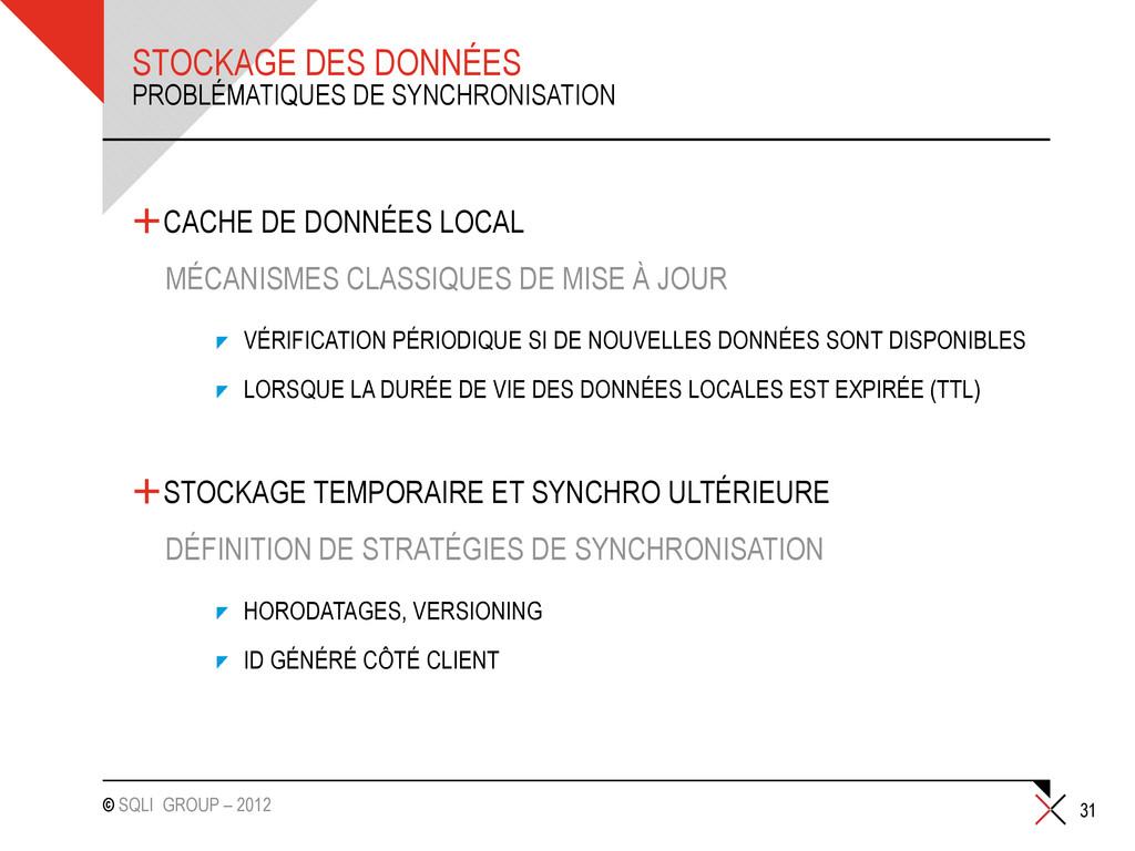 © SQLI GROUP – 2012 STOCKAGE DES DONNÉES +CACHE...