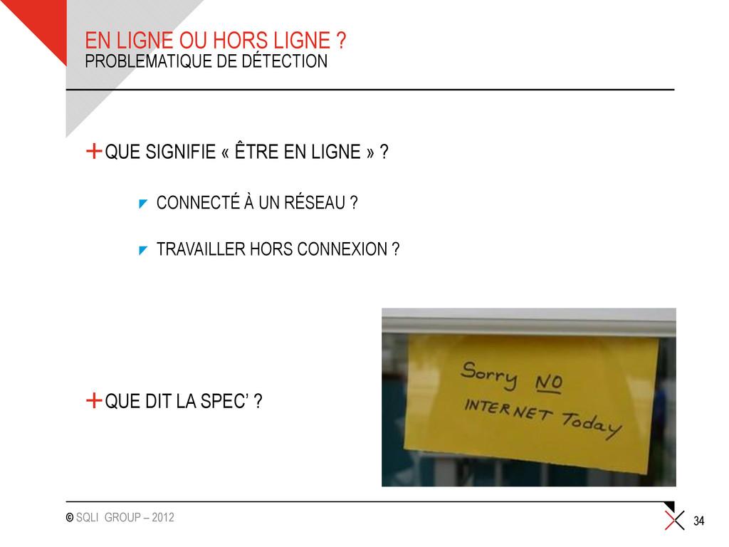 © SQLI GROUP – 2012 EN LIGNE OU HORS LIGNE ? +Q...