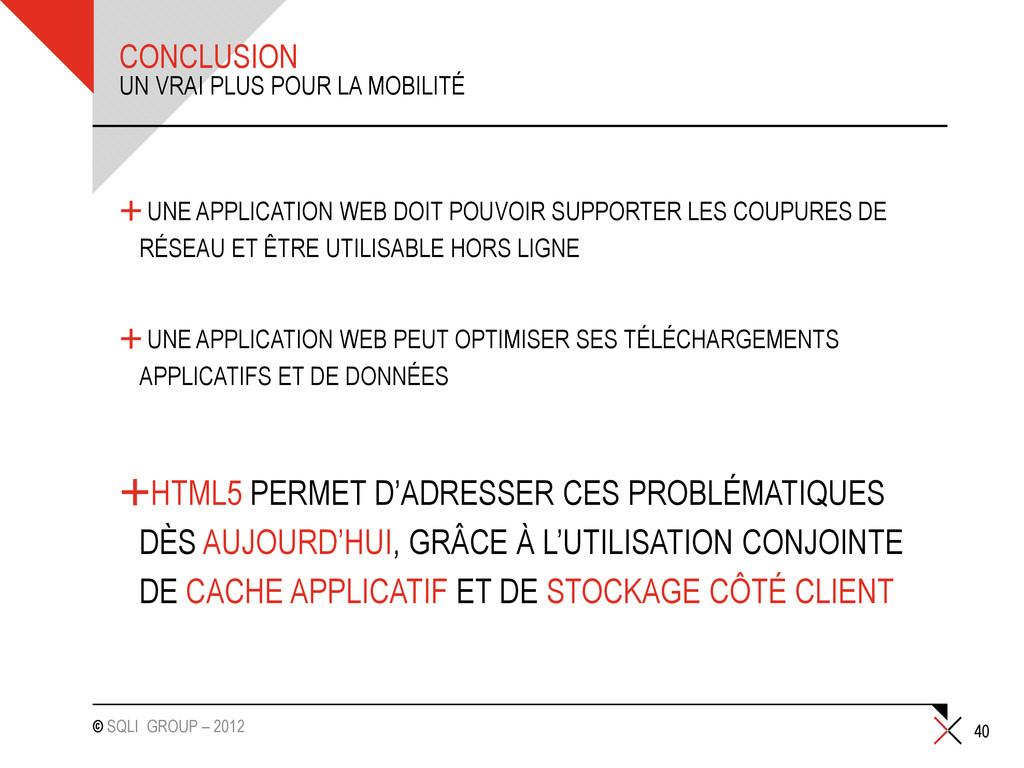© SQLI GROUP – 2012 CONCLUSION +UNE APPLICATION...