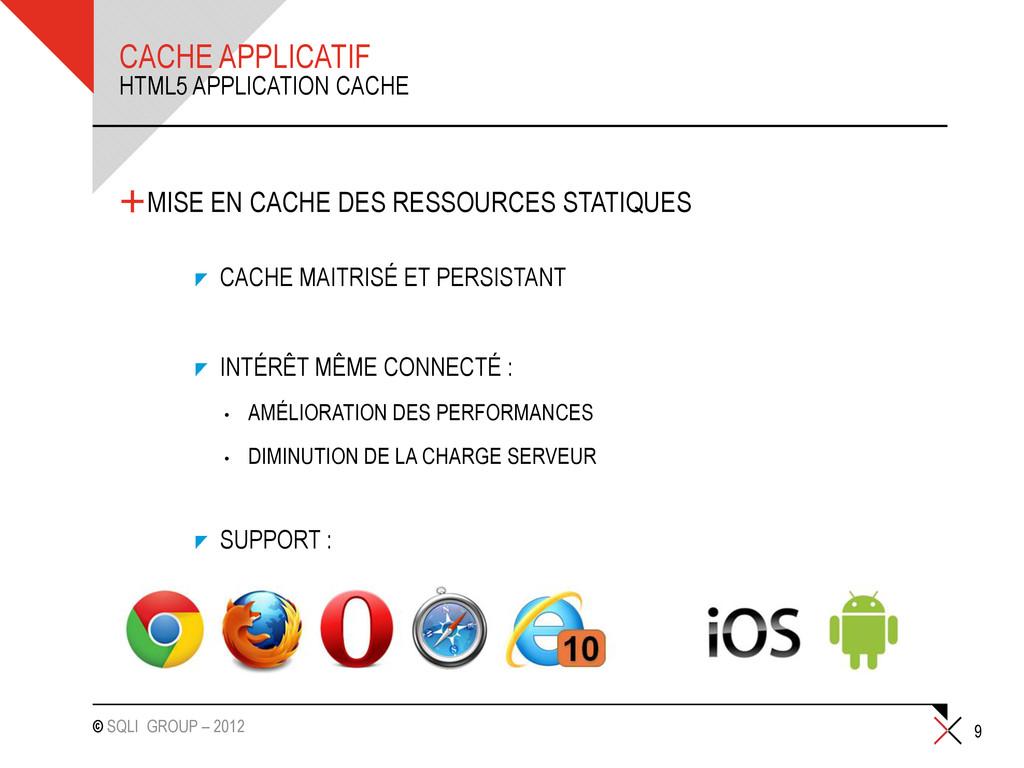 © SQLI GROUP – 2012 CACHE APPLICATIF +MISE EN C...