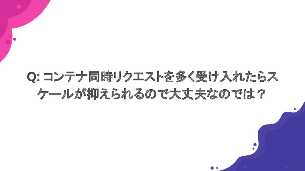 Q: コンテナ同時リクエストを多く受け入れたらス ケールが抑えられるので大丈夫なのでは? 31