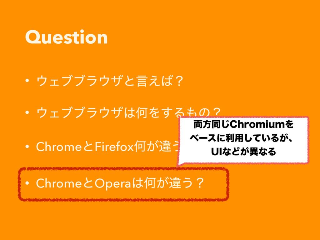 Question • Σϒϒϥβͱݴ͑ʁ • ΣϒϒϥβԿΛ͢Δͷʁ • Chr...