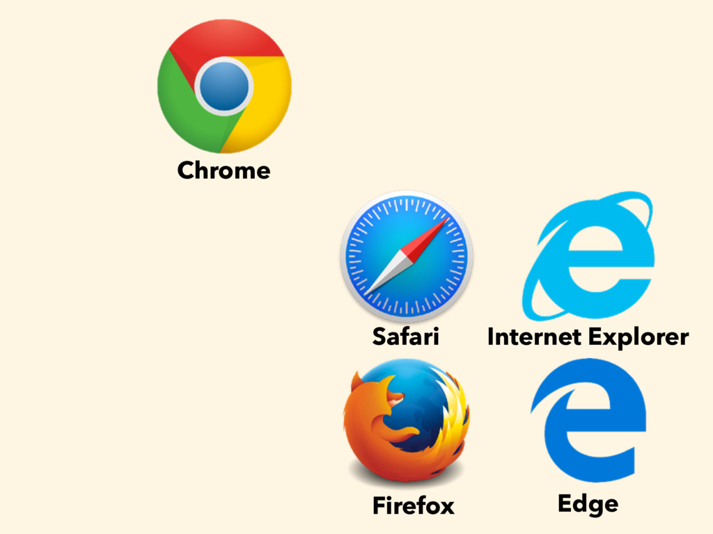 Chrome Safari Firefox Internet Explorer Edge