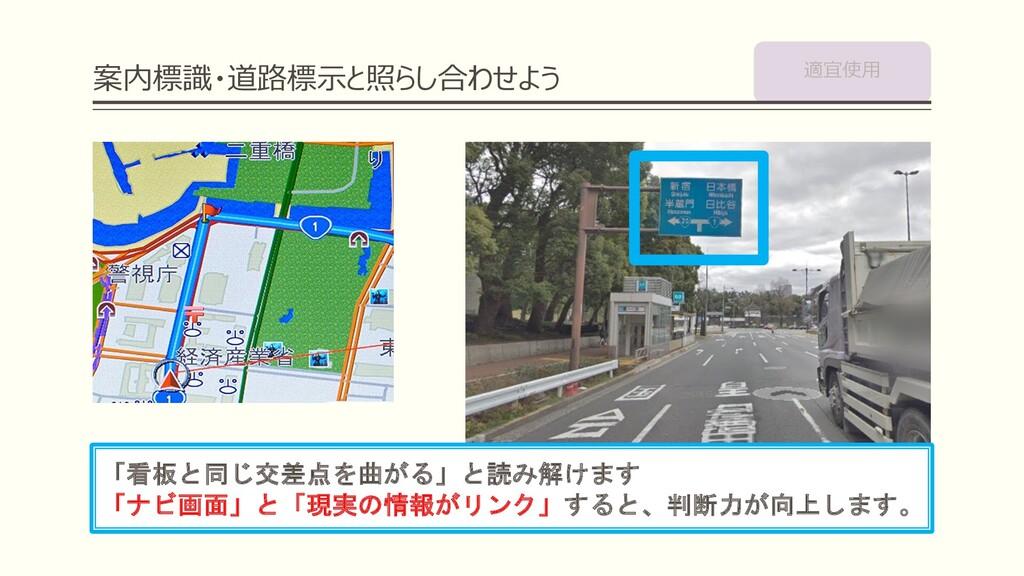 案内標識・道路標⽰と照らし合わせよう 「看板と同じ交差点を曲がる」と読み解けます 「ナビ画面」...