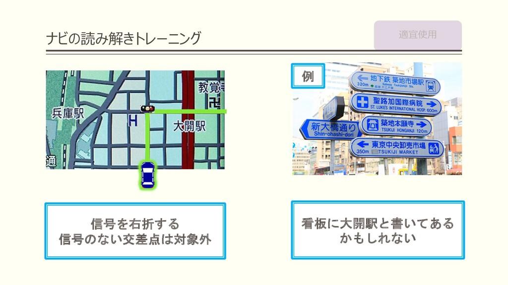 ナビの読み解きトレーニング 信号を右折する 信号のない交差点は対象外 看板に大開駅と書いてある...