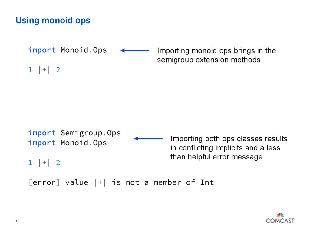 Using monoid ops 12 import Monoid.Ops 1 |+| 2 I...