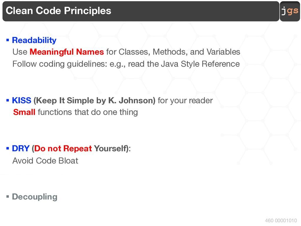 jgs 460 00001010 Clean Code Principles § Readab...