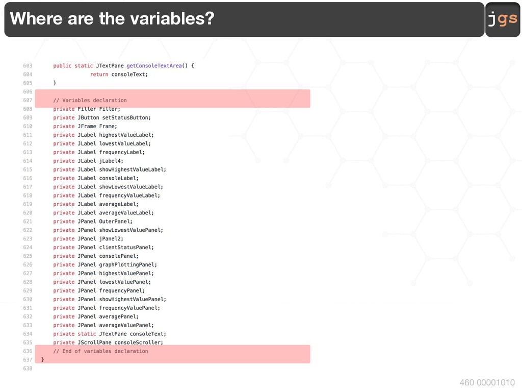 jgs 460 00001010 Where are the variables?