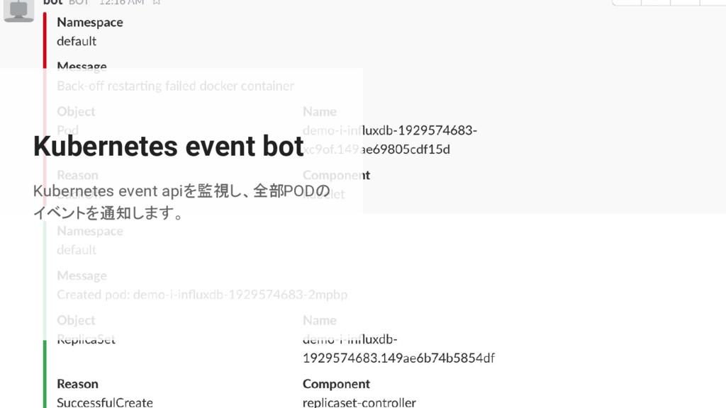 Kubernetes event bot Kubernetes event apiを監視し、全...