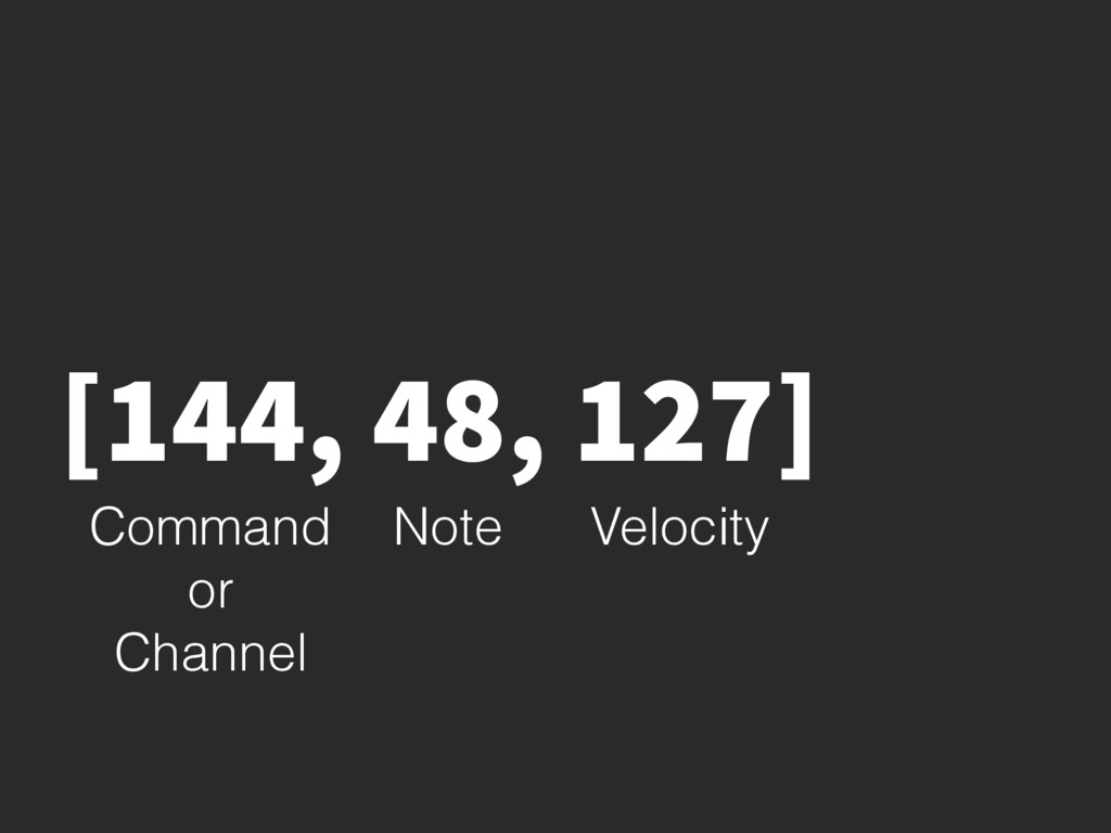 [144, 48, 127] Command or Channel Note Velocity