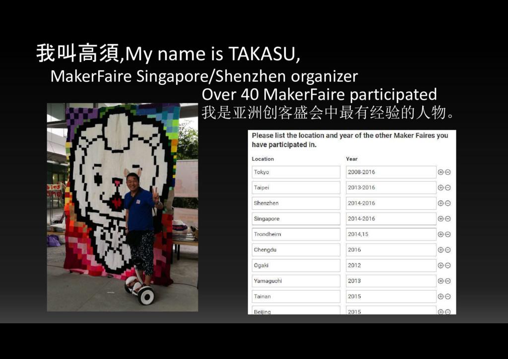 我叫高須,My name is TAKASU, MakerFaire Singapore/Sh...