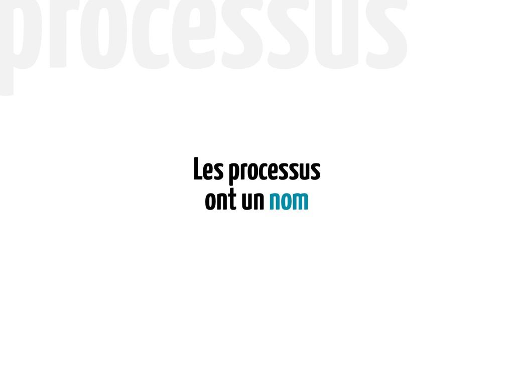 ont un nom Les processus processus