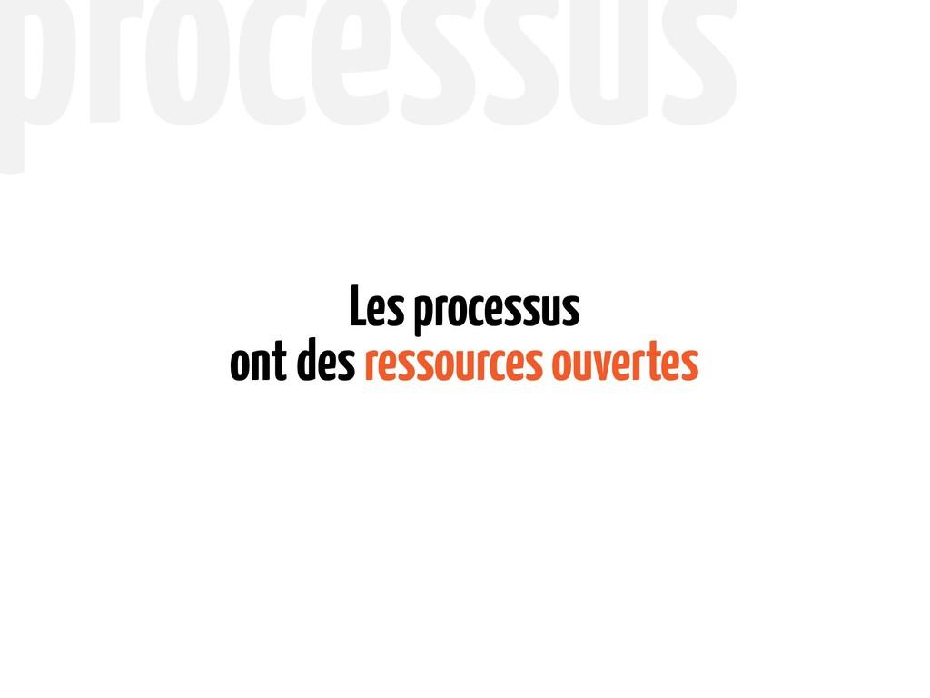 ont des ressources ouvertes Les processus proce...