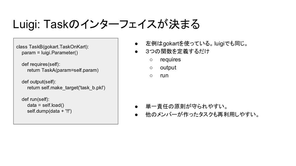 Luigi: Taskのインターフェイスが決まる class TaskB(gokart.Tas...