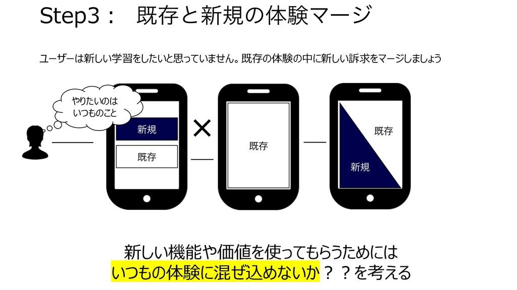 Step3︓ طଘͱ৽نͷମݧϚʔδ ユーザーは新しい学習をしたいと思っていません。既存の体験...