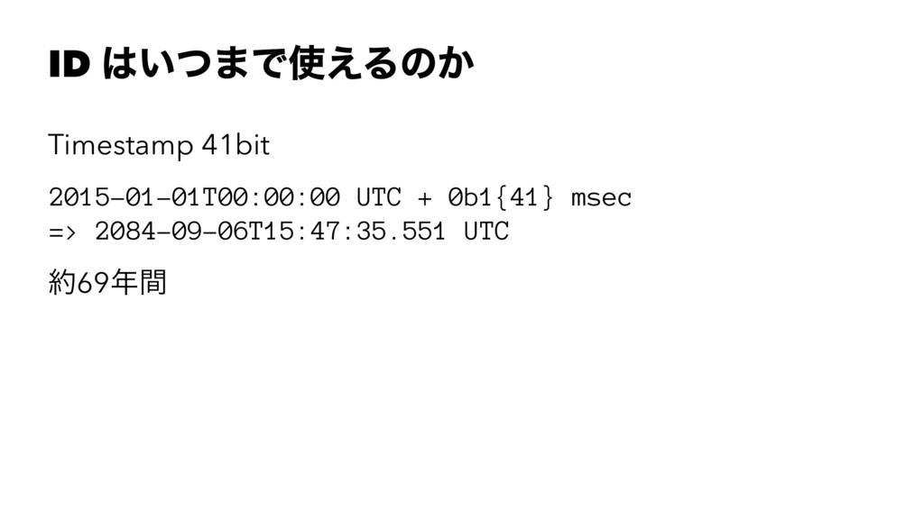 ID ͍ͭ·Ͱ͑Δͷ͔ Timestamp 41bit 2015-01-01T00:00:...